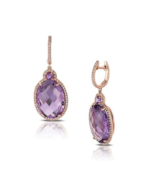 Marco Moore | Purple Amethyst, Diamond And 14k Rose Gold Drop Earrings | Lyst