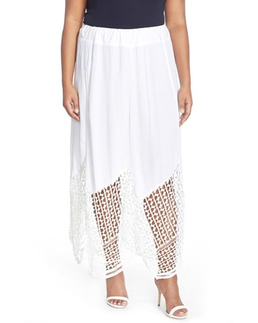 XCVI | White Xcvi 'Lauryn' Lace Border Midi Skirt | Lyst