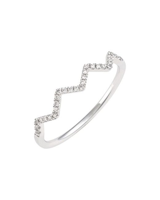 Bony Levy | White 'stackable' Zigzag Diamond Ring (nordstrom Exclusive) | Lyst