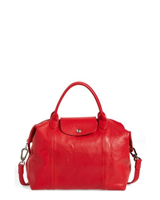 Longchamp | Red Le Pliage Cuir Leather Tote  | Lyst