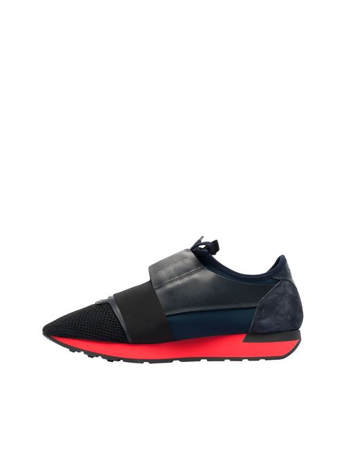 Balenciaga Race Runners Leather and Mesh Sneakers in Blue ... | 520 x 650 jpeg 11kB