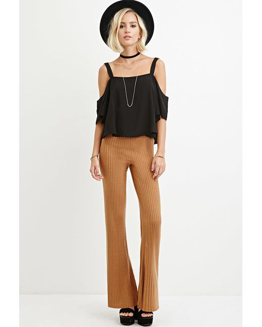 Forever 21 | Natural Ribbed Flared Pants | Lyst