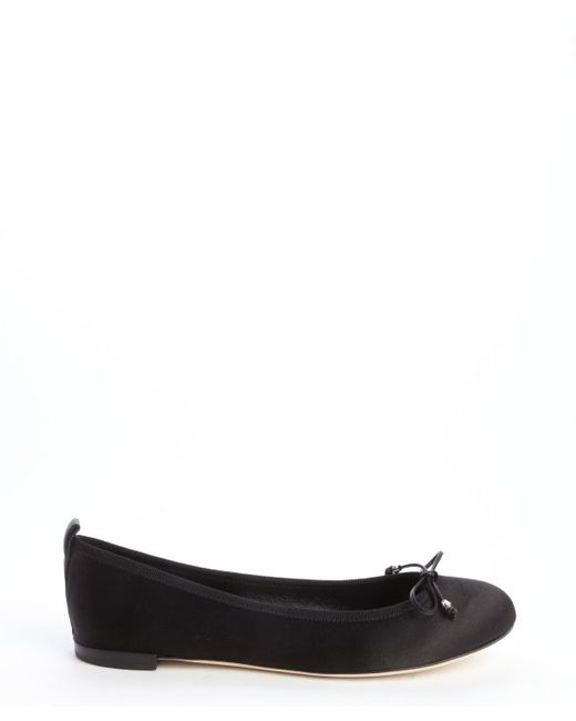 Gucci | Black Satin Bow Tie Detail Ballet Flats | Lyst
