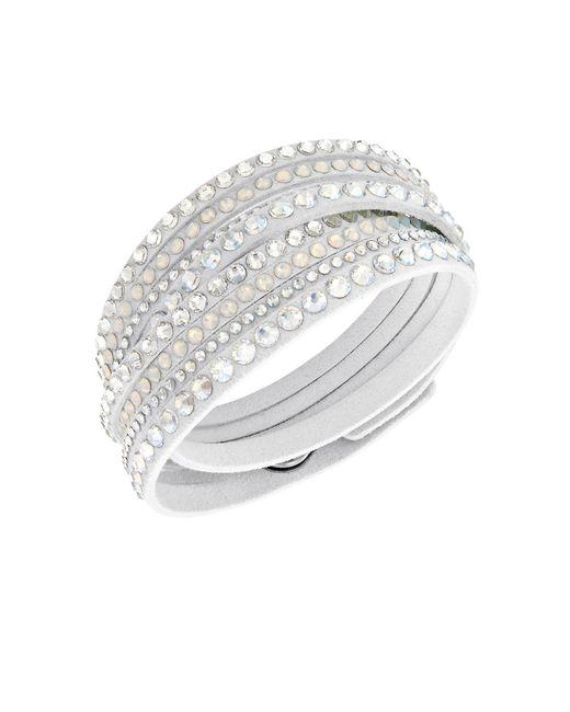 Swarovski | White Fabric Crystal Slake Wrap Bracelet | Lyst