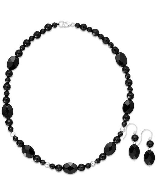 Macy's   Black Onyx Bead Jewelry Set In Sterling Silver (180-1/2 Ct. T.w.)   Lyst