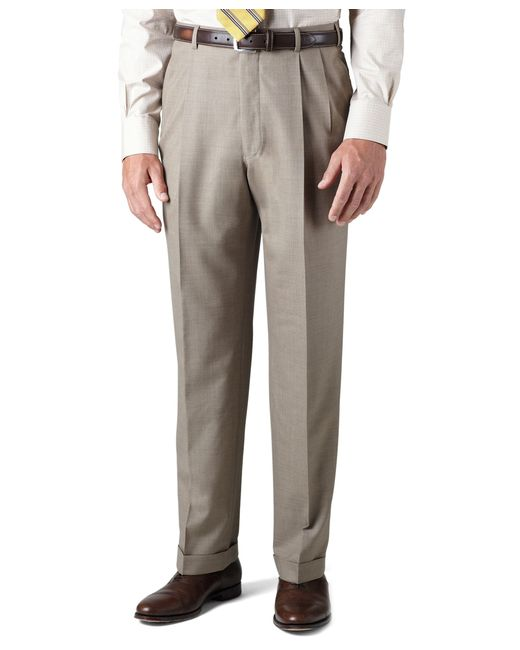 Brooks Brothers | Brown Country Club Saxxon Wool Madison Fit Pleat-front Trousers for Men | Lyst