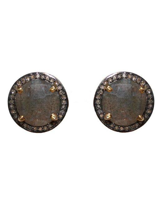 Adornia | Green Labradorite And Champagne Diamond Echo Stud Earrings | Lyst