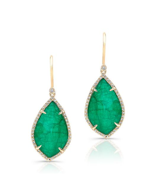 Anne Sisteron - Green 14kt Yellow Gold Emerald Diamond Leaf Earrings - Lyst