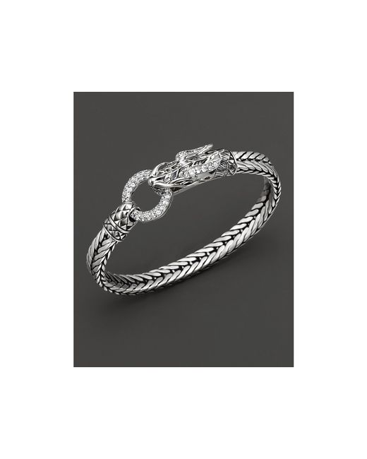 John Hardy | Metallic Naga Lava Dragon Head Bracelet With White Topaz | Lyst
