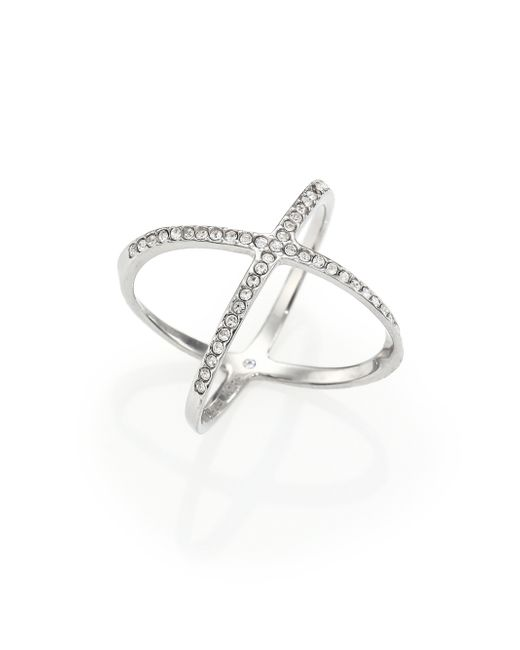 Michael Kors | Metallic Brilliance Statement Pave X Ring/silvertone | Lyst