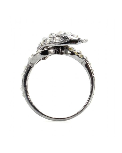 Ileana Makri | Metallic Whispered Snake 18kt Oxidized White Gold Ring With Rose Cut Coated Grey And Black Diamonds | Lyst