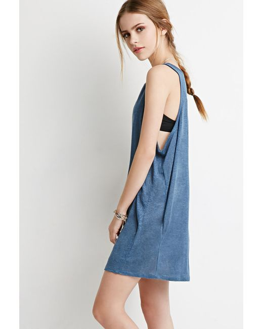 Forever 21 | Blue Linen Tank Dress You've Been Added To The Waitlist | Lyst