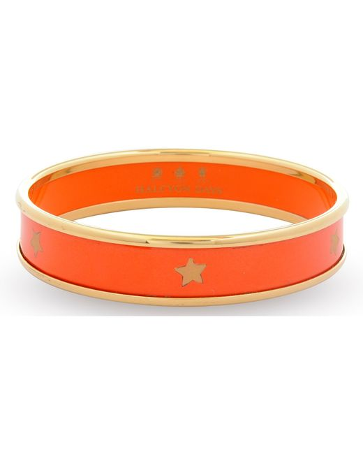 Halcyon Days | Orange 18ct Gold Plated Gold Star Small Bangle | Lyst