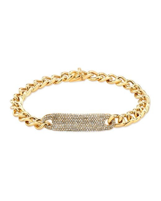 Anne Sisteron | Metallic 14kt Yellow Gold Diamond Luxe Id Bracelet | Lyst