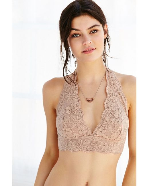 Out from under Lace Halter Bra in Beige (NUDE)