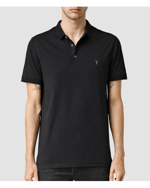AllSaints | Black Alter Polo Shirt for Men | Lyst