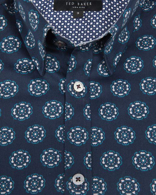 Ted Baker | Blue Long Sleeve Large Spot Print Trim Fit Shirt for Men | Lyst