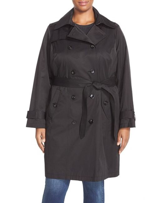 London Fog | Black Double Breasted Trench Coat | Lyst