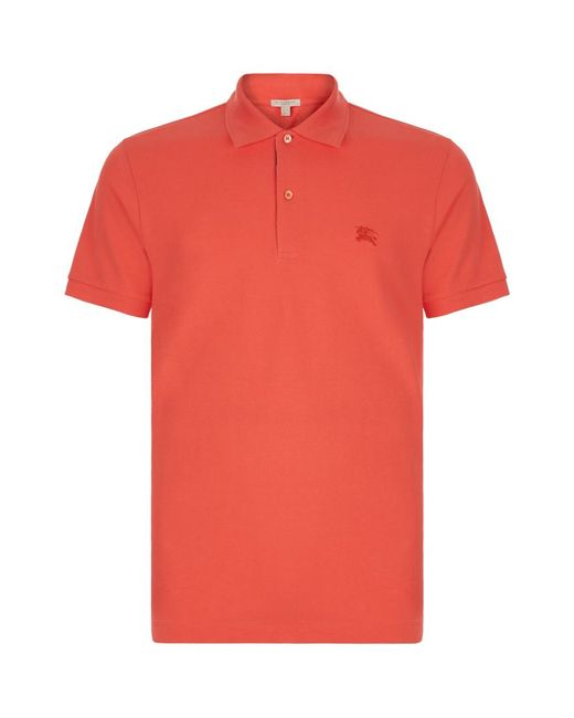 Burberry Brit Check Placket Polo Shirt In Orange For Men