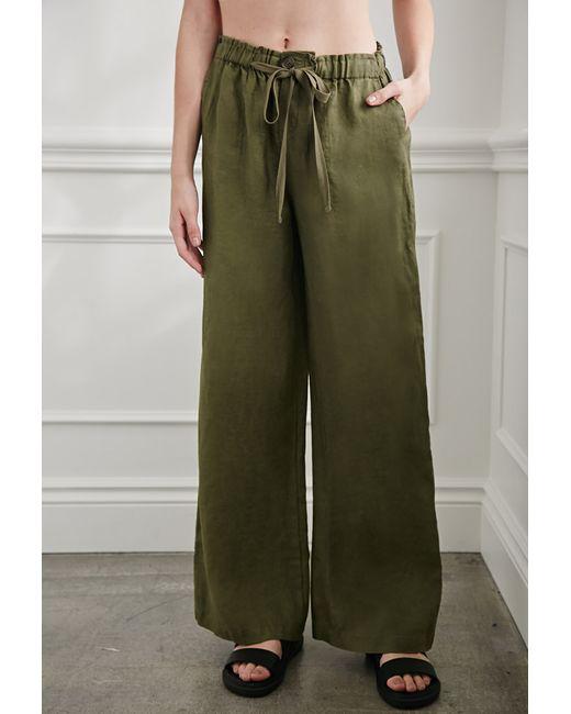 Forever 21 | Green Wide-leg Linen Pants | Lyst