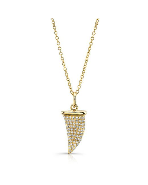 Anne Sisteron - Metallic 14kt Yellow Gold Diamond Shark Tooth Necklace - Lyst