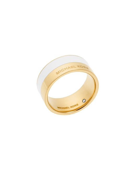 Michael Kors | Metallic Gold-tone And White-accented Ring | Lyst