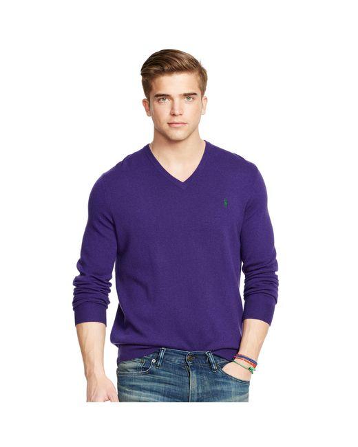 Polo Ralph Lauren | Blue Wool V-neck Sweater for Men | Lyst