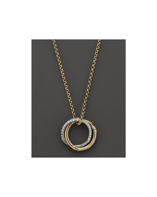 John Hardy | Metallic Bamboo Small Interlinking Pave Ring Pendant Necklace In 18k Yellow Gold, 16"
