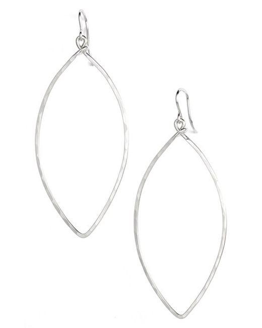 Ija | Metallic Sterling Silver Oblong Hoop Earrings | Lyst
