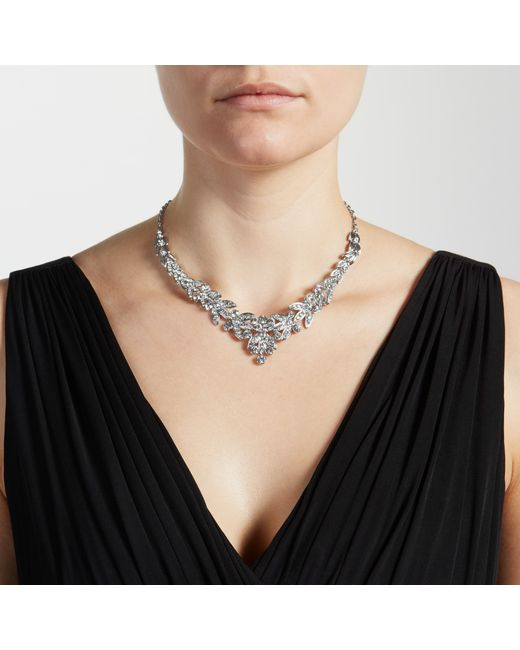 John Lewis | Metallic Diamante Leaf Statement Necklace | Lyst