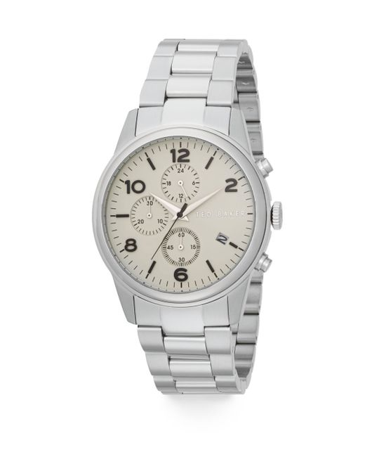 Ted baker chronograph stainless steel bracelet watch in