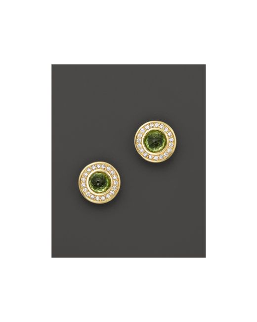 Ippolita | Green Diamond, Peridot & 18k Yellow Gold Lollipop Mini Stud Earrings, .15 Ct. T.w. | Lyst