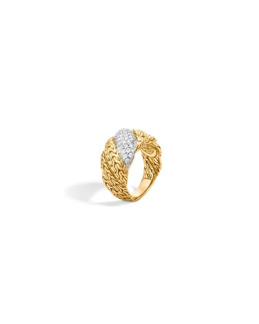 John Hardy | Metallic Classic Chain 18k Gold Diamond Pave Flat Twisted Chain Ring | Lyst