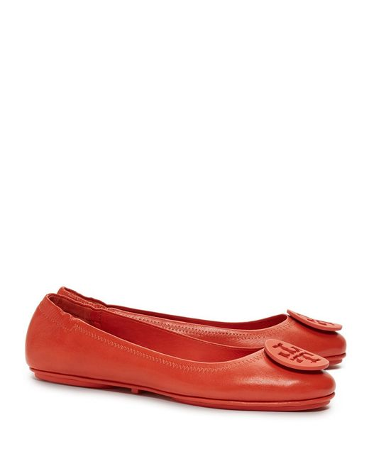 Tory Burch | Red Logo Minnie Travel Ballet Flat, Leather | Lyst