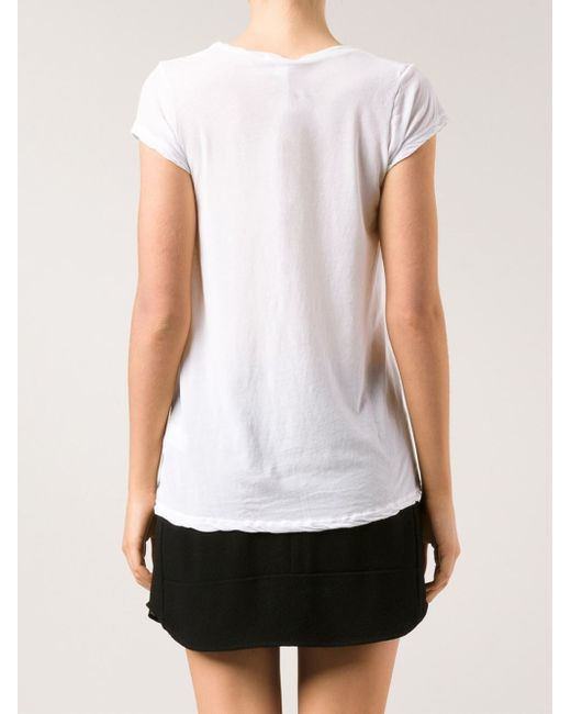 James perse 39 gauge 39 deep t shirt in white lyst for James perse t shirts sale