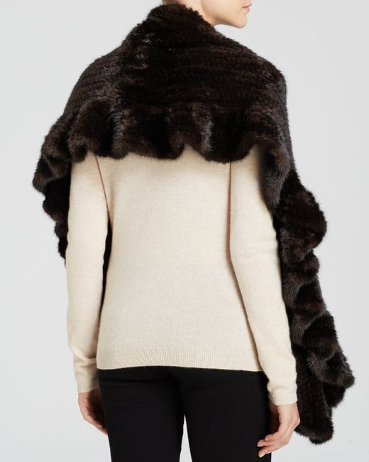 Maximilian | Brown Maximilian Mink Fur Knit Scarf With Ruffle And Rosette Trim | Lyst