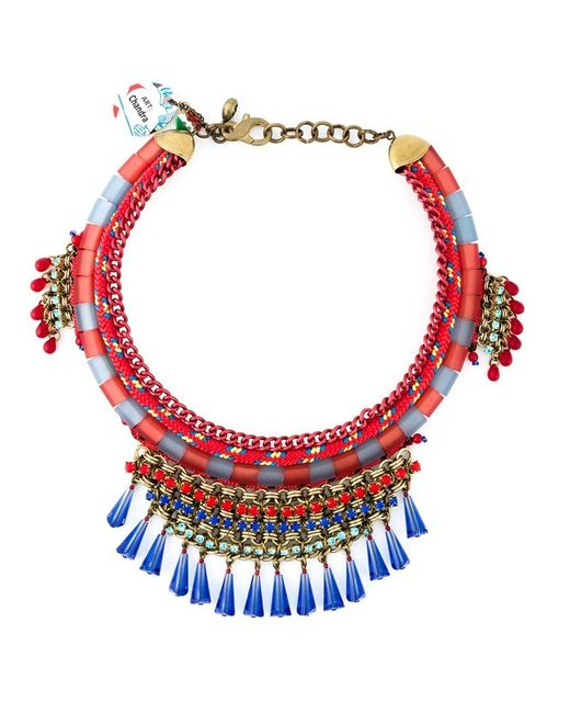 Sveva Collection | Red Embellished Rope And Chains Necklace | Lyst