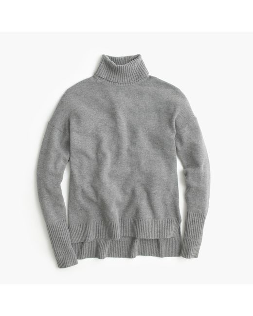 J.Crew | Gray Relaxed Wool Turtleneck With Rib Trim | Lyst
