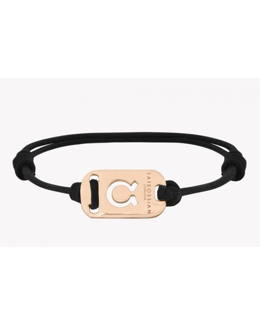 Tateossian | Pink Zodiac 18k Yellow Gold Taurus Black Waxed Cord Bracelet for Men | Lyst