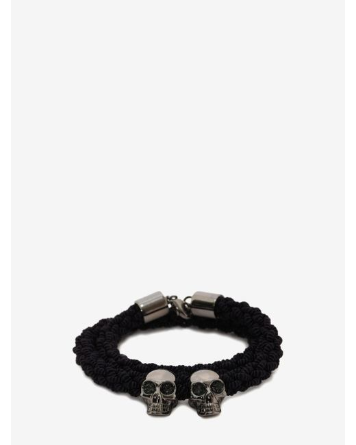 Alexander McQueen | Black Double Braid Bracelet for Men | Lyst
