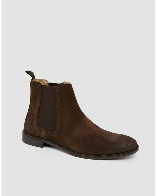 asos chelsea boots in suede brown in brown for lyst