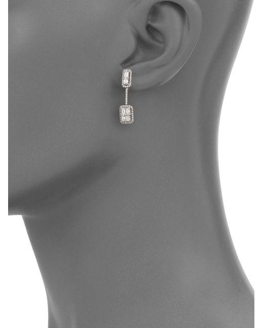 Roberto Coin | Baguette Deco Diamond & 18k White Gold Drop Earrings | Lyst