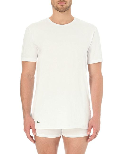 Lacoste | White Pack Of Two Cotton-jersey T-shirts for Men | Lyst