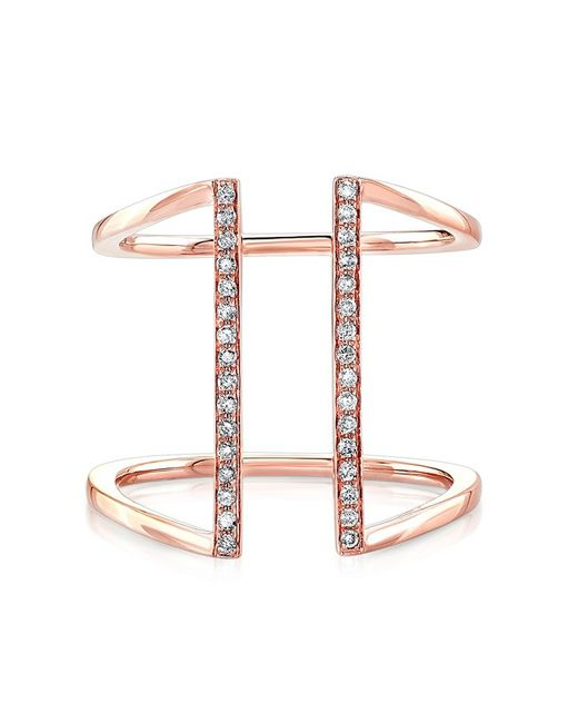 Anne Sisteron | Pink 14kt Rose Gold Diamond Straight Double Bar Ring | Lyst