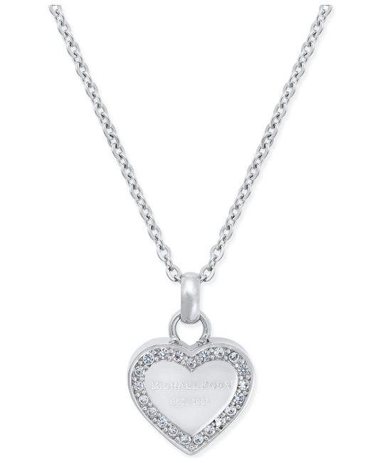 Michael Kors | Metallic Crystal Heart Pendant Necklace | Lyst
