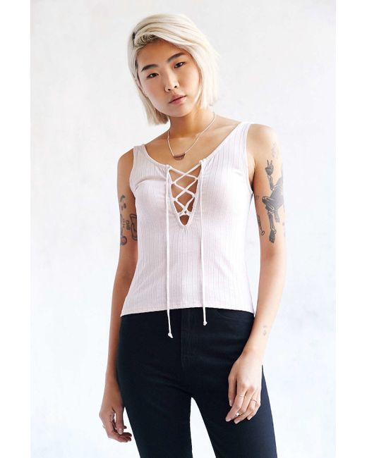 Project Social T   Pink Lace-up Ribbed Tank Top   Lyst