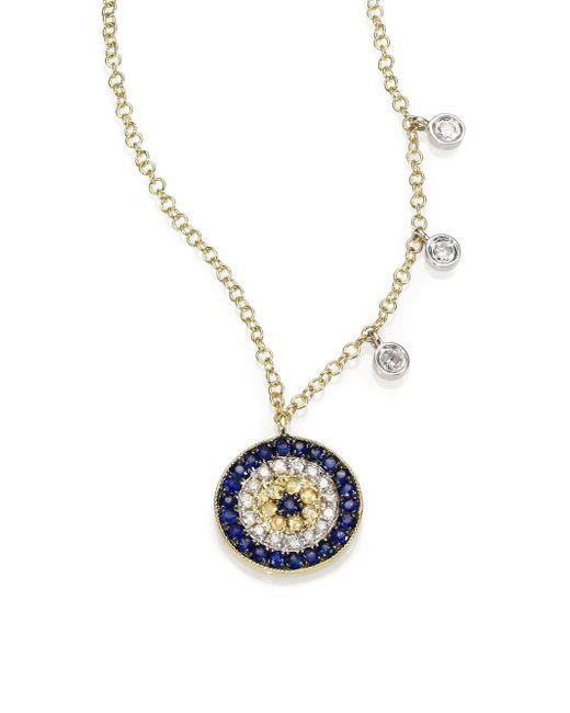 Meira T | Metallic Diamond, Blue Sapphire & 14k Yellow Gold Evil Eye Necklace | Lyst