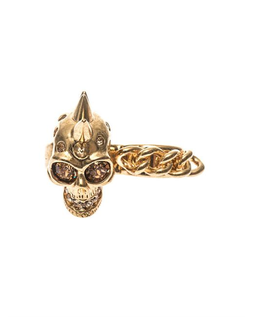 Alexander McQueen | Metallic Skull And Chain Double Ring | Lyst