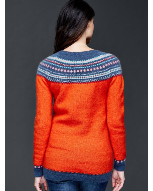 Gap fair isle pullover crew sweater in red holly berry for Fair isle pullover damen