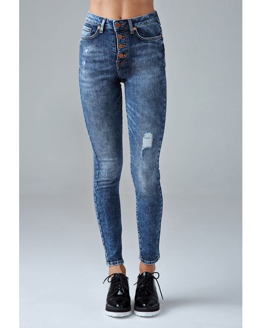 Forever 21 | Blue Exposed Button High-waisted Skinny Jeans | Lyst